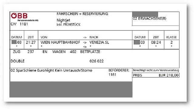 事前に購入したEuroNightの乗車券