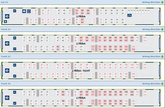 チェコ鉄道ホームページより。席の選択画面