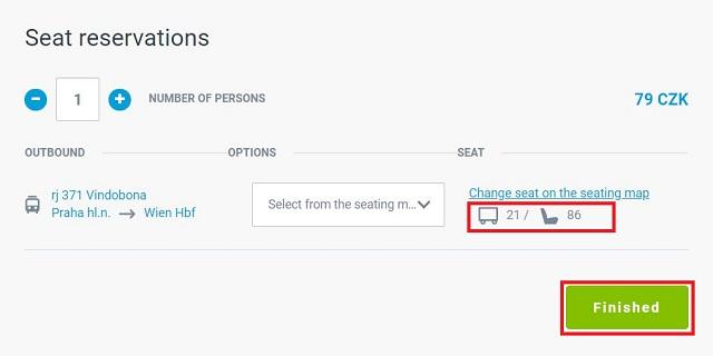 チェコ鉄道ホームページより。席を選択。