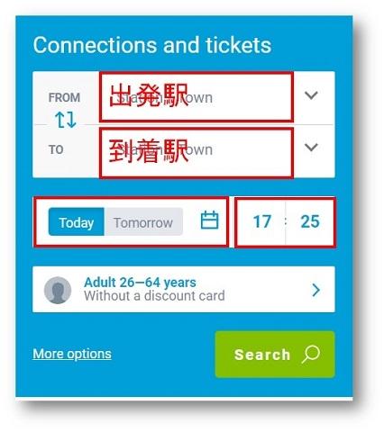 チケット情報の入力。チェコ鉄道ホームページより