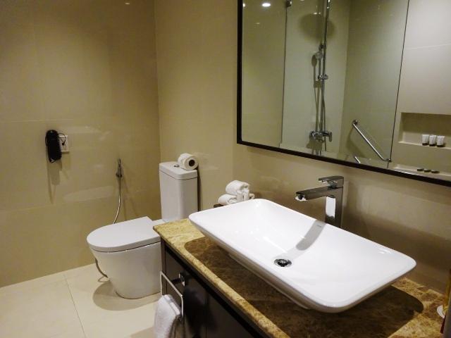 広いバスルームと洗面台