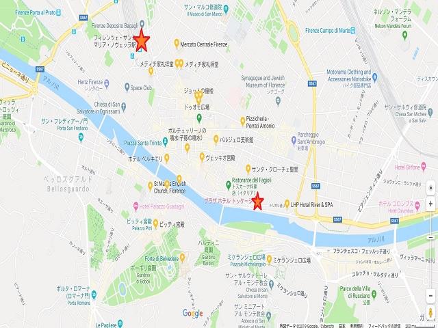 Florenceの駅とホテルの場所 GoogleMapより出典