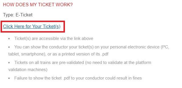 Eチケットのリンク