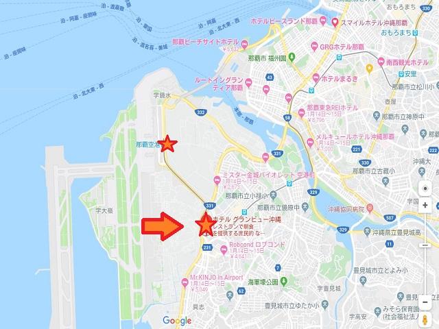 ホテルの位置 GoogleMapより