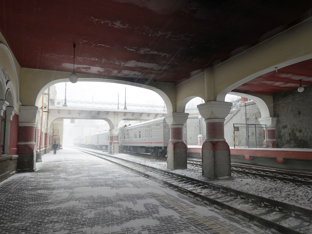 Waiting for a train at platform of Vladivostok station