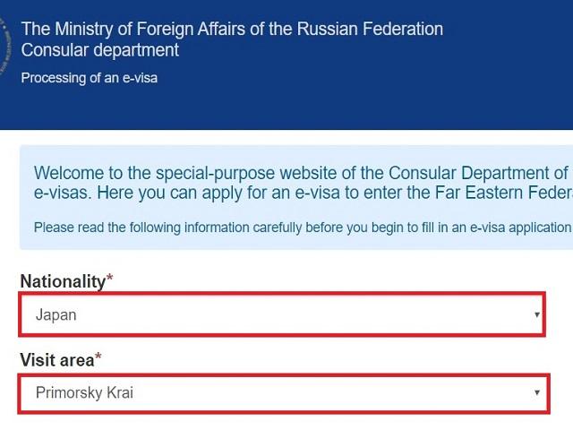 Apply E-visa to enter vladivostok homepage screen shot