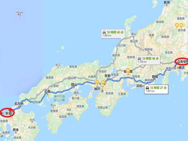 tokyo-to-fukuoka-route