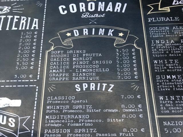 Alimentari Coronariのメニュー