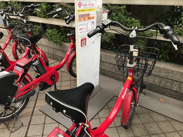 baybikeの赤い電動自転車
